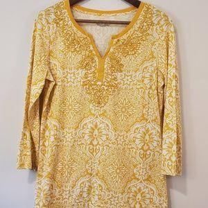 Charter Club tunic size medium yellow embroidery